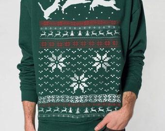 Christmas Cat sweater -- Ugly Christmas sweater -- sweatshirt -- pullover cat sweatshirt -- s m l xl xxl xxxl