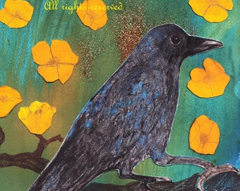 Crow with Buttercups * Crow Art Print * Colorful Crow Painting * from Original Watercolor and Collage * By Crow Baby Press
