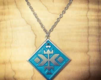 Aztec Pattern Cast Pewter Necklace