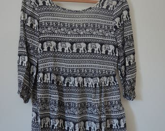 Women's Hippie Dress, Women's Elephant Print Dress, Women's Boho Tunic with Scoop Back