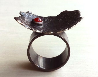 Meteor Ring - Oxidized Sterling Silver - 4mm Carnelian - Textured - Abstract - Sculptural - Gallery Style - Statement - Black Crater Ring