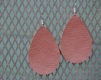 Large Cognac Leather Teardrop Earrings