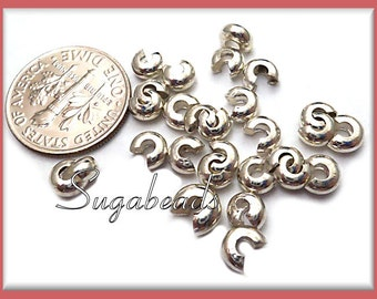 50 Silver Plated Crimp Covers, 4mm Crimp Covers, Bright Silver Crimp Covers PS183