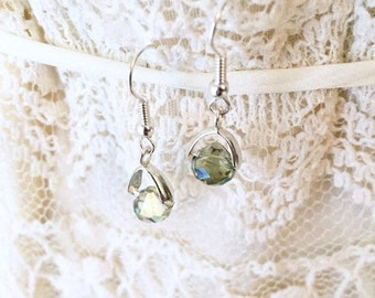 Gifts For Her, Green Earrings, Gifts Under 10, Dangle and Drop Earrings, Faceted Earrings, Boho Earrings, Glam Earrings, Gifts For Coworkers