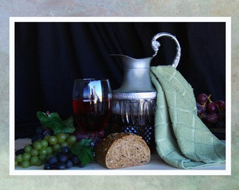 Wine and Bread. A Still Life Photograph Blank, Bi-fold Note Card.