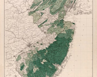 New Jersey, Forests & Watersheds; Antique Map 1900