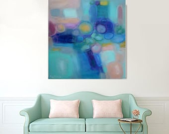 "Extra Large pastel square abstract 30x30"" acrylic on canvas fine art giclee canvas prints,teal blue turquoise pink XXL canvas wall art"