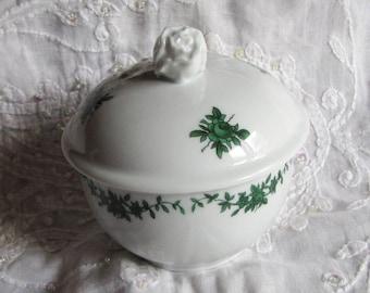 Sugar box Fürstenberg porcelain Castle Garden Green Vine