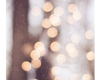 """Light Photography, bokeh print sparkle neutral wall photo white gold cream picture light brown sparkly photograph, """"The Christmas Spirit"""""""