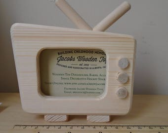 Natural Wooden Small Decor TV, Television, Wood Toy, Place Name Card Holder, Party Favor, Supplies, Handmade Home Decor, Jacobs Wooden Toys