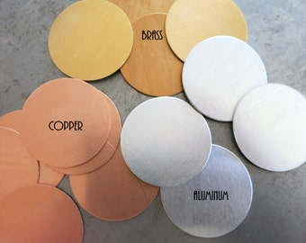 1 Inch Round Stamping Blanks, Set of 8, Brass, Copper or Aluminum, Ready to Ship!