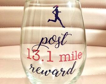 Post 13.1 mile reward, half marathon wine glass, trophy, runner, party
