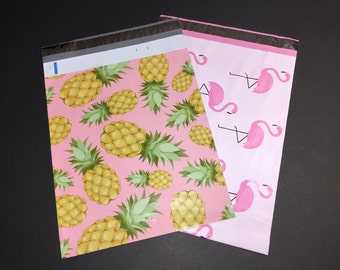 100  10x13 PINEAPPLE and FLAMINGO Assortment Poly Mailers 50 Each Self Sealing Envelopes