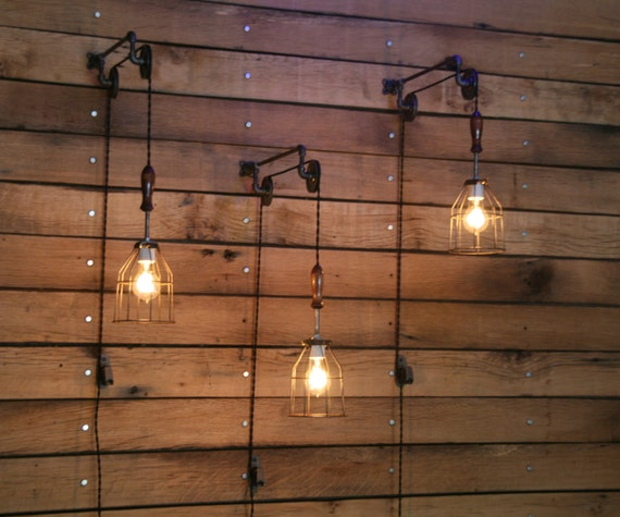 Pulley wall mount with industrial cage light and wooden handle mozeypictures