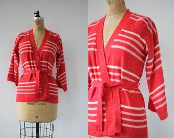 vintage 1970s sweater / 70s red white lavender stripe sweater / 70s belted sweater / 70s wrap sweater / 70s valentines cardigan / medium
