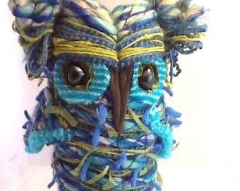 Delaney The Aqua Blue Fiber Art Plush Owl