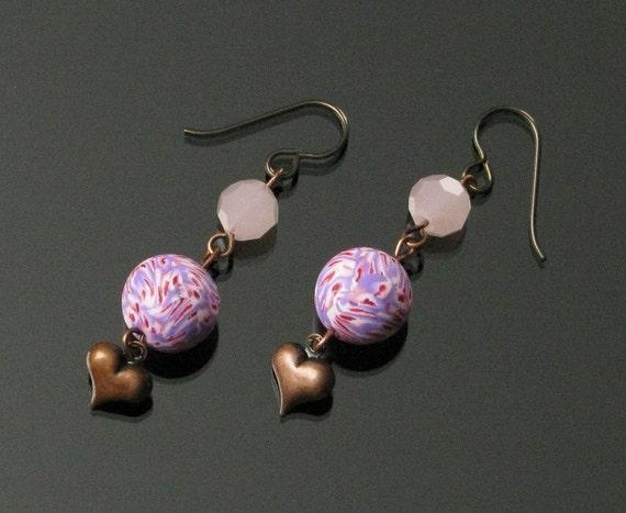 Copper Heart Earrings, Long Pink Earrings, Niobium Earrings, Handmade Love Jewelry, Unique Jewelry Gift for Women, Wife Gift Girlfriend, Mom