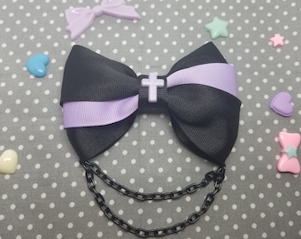 Handmade Black Hair clip double big bow and chain wirh resin cross For fairy kei Pastel Goth lolita accessories Jewelry *Free Shipping USA*