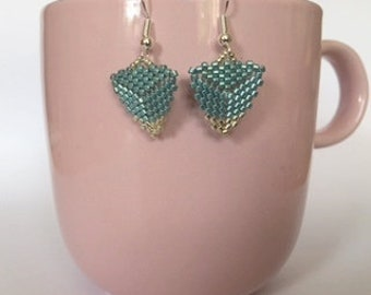 Handmade Triangle Beaded Earrings in Duck Egg Blue and Silver