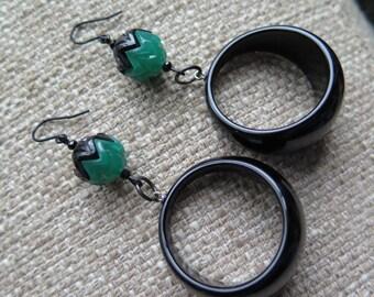 black and green earrings, art deco hoop earrings, wicked green earrings, unique earrings, fun earrings, statement earrings, jet black hoops