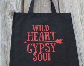 Black & Copper Glitter Wild Heart Gypsy Soul Tote Bag