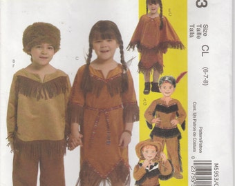Native Costume Pattern Cowboy Cowgirl Uncut Girls Boys Size 6 - 8 McCalls 5953