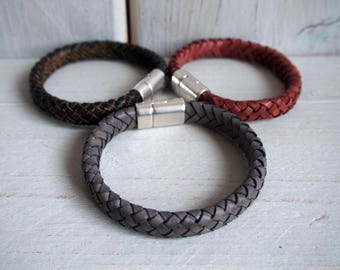 Mens Leather Bracelet, Braided Bracelet, Leather bracelets for men, Husband Gift, boyfriend Christmas gift, Anniversary Gift, Gift for him