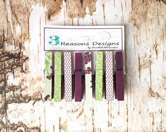 Decorative Clothespins - Floral Print - Purple Clips - Party Banner - Fridge Magnet - Office Organization - Photo Holder - Card Display