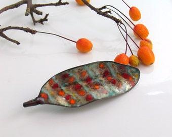 Enameled Leaf Art Pin, Striped & Dotted  Lapel Pin, Hand Crafted Copper Enamel Brooch, OOAK Vitreous Enamel Wearable Art, WillOaksStudio
