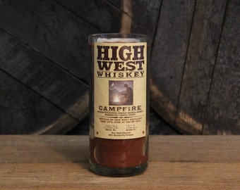 High West Whiskey Candle - Upcycled Bourbon Bottle Candle, Soy Candle, Whiskey Lovers Gift, Bourbon Gifts, Bar Decor, Father's Day Gift