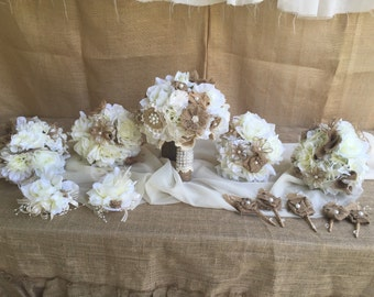 Wedding package set bride,bridesmaid,maid of honor,throw bouquet + bouttonieres + corsages ivory or any color w/burlap lace cream ivory