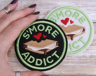 S'More Addict -  Round Merit Badge Iron On Embroidery Patch MTCoffinz - Choose Size/ Color