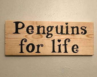 """Hand painted """"Penguins for life"""" Modern Wall Art Sign Painting Script  OOAK by Kyra Waits"""