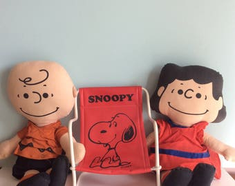 1950's Charlie Brown And Lucy Peanuts Rag Dolls and Snoopy Sling Chair, 1952 Rare Mid Century Peanuts Characters, 50s Lucy And Charlie Brown