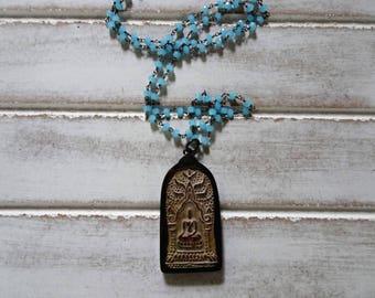 "Large Meditating Buddha Pendant Necklace | Blue Agate Precious Stones | 31"" Long | Crystal Healing | FREE US SHIPPING"