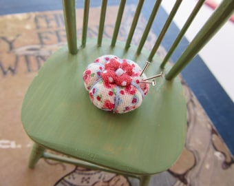 Miniature Pincushion - MADE for YOUR DOLL in Rosebud and Polka Dot - Smallest Size