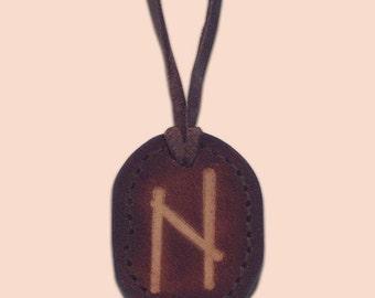 Hagalaz - The Rune of Disruption - Asatru Jewelry - Leather Rune Pendant - Rune Amulet Necklace - Viking Rune