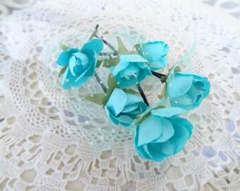 Ocean Blue Flower Wedding Hair Pins, Ocean Blue Bridal Hair Pins, Hair Accessories, Organza Hair Pins, Bridesmaid Hair, Woodland - Set of 6