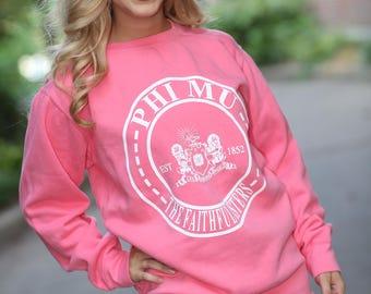 Phi Mu Comfort Color Crewneck Sweatshirt - Phi Mu Letter Shirt - Comfort Color Oversized Shirt