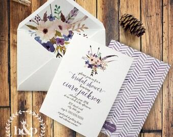 Boho Purple Floral Watercolor Bridal Shower or Baby Shower Invitation