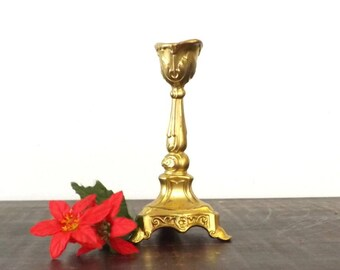 Small Ornate Gilt Cast Metal Candlestick, Vintage Cottage Chic Candle Holder