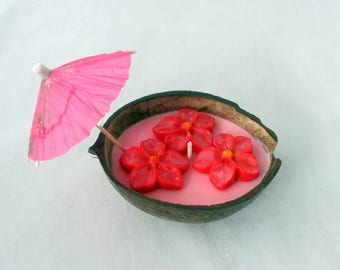 Coconut candle, party candle, coconut shell candle, Tahitian Orchid, coconut bowl, tropical candle, hawaiian candle, luau party