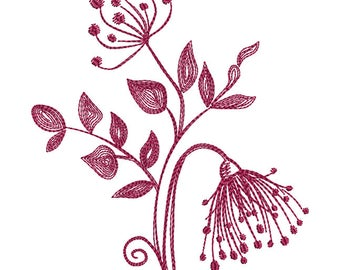 Floral Silhouette 1 Redwork - Machine Embroidery Design