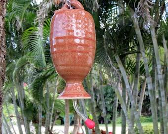 Stoneware Pottery Hummingbird Feeder in Copper Glaze