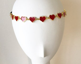 Red Enamel Heart Headpiece, for weddings, parties, special occasions