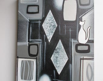 """Monochrome Cat Abstract Shapes Mid Century Modern Retro Style Painting 9"""" X 12"""""""