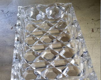 Rectangular Pressed Glass Serving Dish; Appetizer Serving Tray; Heavy Hexagon Pattern Glass display Tray