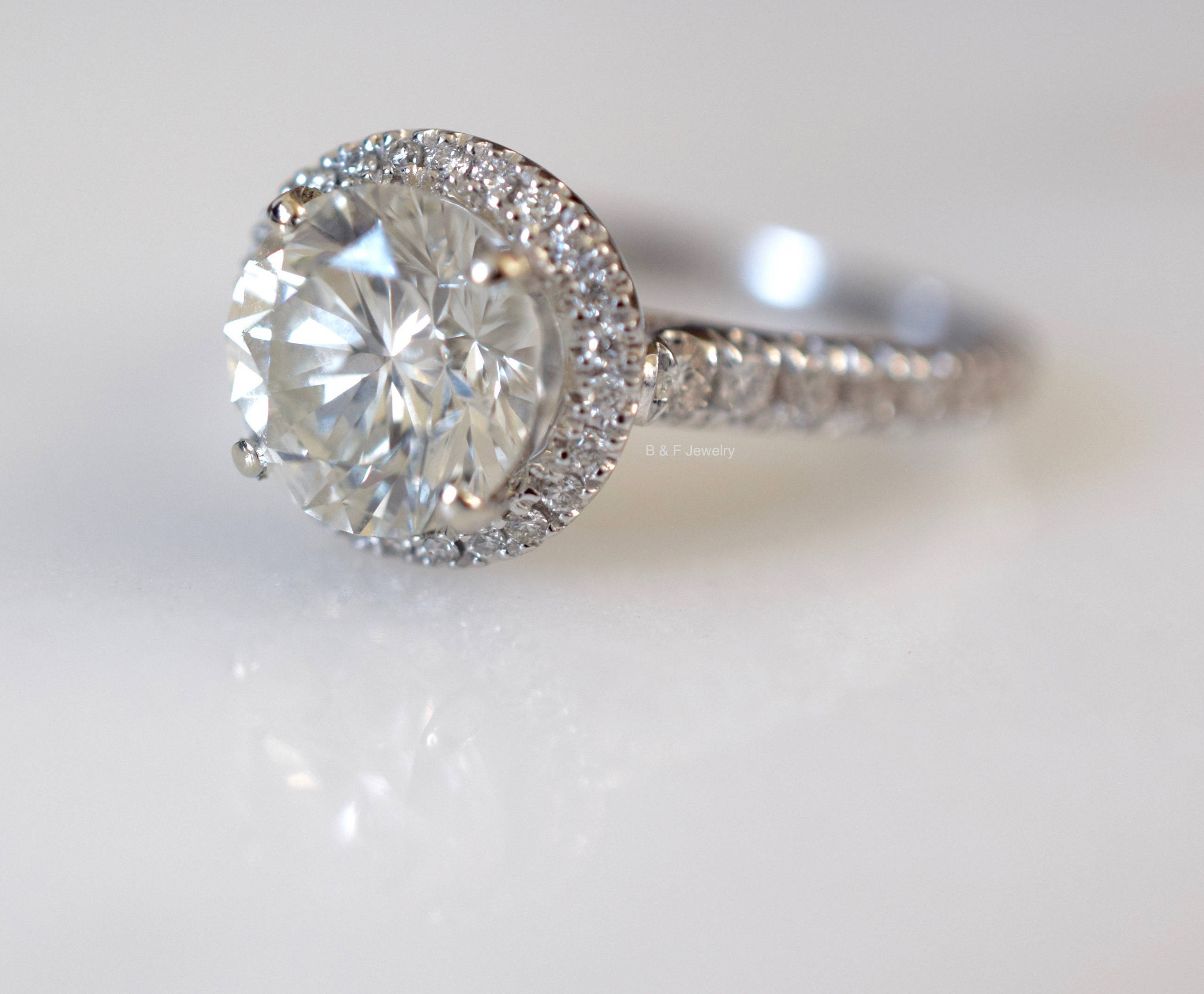 EGL Certified 1 88 Carat Round Brilliant Cut Halo Engagement