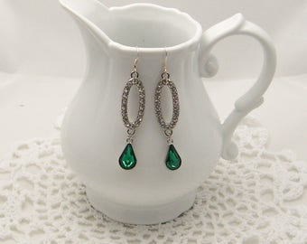 Rhinestone Tear Drop Earrings