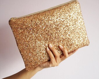 Sparkly Gold Rainbow Glitter Clutch Bag, Gold Rainbow Glitter Party Bag, Gold Glitter Evening Bag, Sparkly Gold Bag, Gold Glitter Bag,